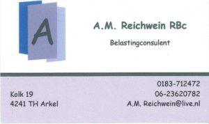 Dit is een visitekaartje van A.M. Reichwein RBc